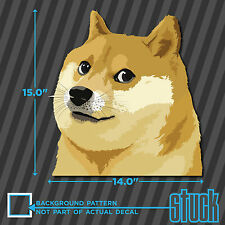 "Doge Head LARGE - 14.0""x15.0"" - printed vinyl decal sticker much wow shibe"
