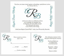 100 Personalized Custom Monogram Names Wedding Invitations Set Any Color