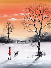 SARAH FEATHERSTONE, ORIGINAL ART SIGNED WATERCOLOUR PAINTING,Walk At Dawn,Winter