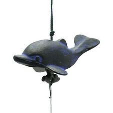 Japanese FURIN Wind Chimes Black & Blue Dolphin Design Cast Iron/Made in Japan