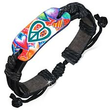 Fashion Colorful Peace Sign Love Heart Oval Adjustable Black Leather Bracelet