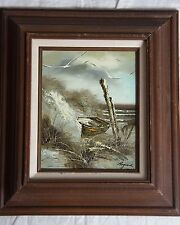 Original Oil Painting of Seascape with Boat Seagulls by Raymond Framed 17''x15''