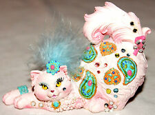 Margaret Le Van's Tails Breast Cancer Fancy Jeweled/Rhinestone Playful Pink Cat