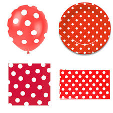 Red Polka Dot Party Set. Balloons / Paper Plates / Table Cover / Napkins