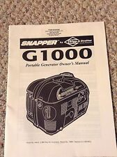 Snapper Owners Manual for G1000 Portable Generator Model 1666-0