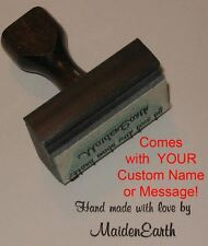 Hand Made With Love Rubber Stamp With Your Custom Name