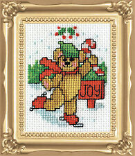 Cross Stitch Kit Design Works Christmas Joy Bear Picture w/Frame & Mat #DW508