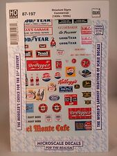 MicroScale Decals #87-197 HO Scale - Structure Signs Commercial (1930's-1950's)