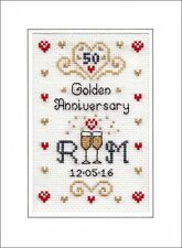 Golden Wedding Anniversary cross stitch card kit