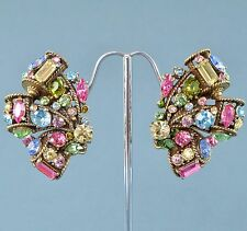 Vintage Earrings HOLLYCRAFT Large 1950s Multi Colour Crystal Bridal Jewellery