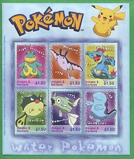 Water Pokemon Croconaw Mantine Feraligatr Souvenir Stamp Sheet Antigua E52a