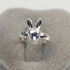 Super cute silver tone bunny rabbit adjustable ring