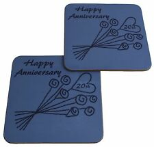 20th Wedding Anniversary (China) Pair of Coasters Flower