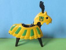 PLaymobil*  Pferd rar grün gelb mit schwarzer Feder 3652 Turnier Ritterburg 3666