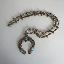 Navajo sterling silver disk & mellon bench beads cast naja hands turquoise cuffs