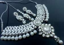 WHITE KUNDAN SILVER TONE INDIAN TRADITIONAL CHOKER NECKLACE SET JEWELRY