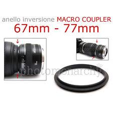 Anello MACRO COUPLER adattatore INVERSIONE 67mm - 77mm 67 77 Canon Nikon Sony