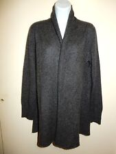 PHILOSOPHY 100% CASHMERE DARK GREY OPEN FRONT SHAWL LONG CARDIGAN/DUSTER L