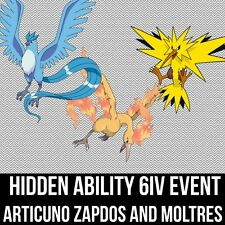 Pokemon Guide - 6IV Hidden Ability Event Articuno Zapdos and Moltres