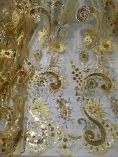 "GOLD YALLOW SEQUINS EMBROIDERY MESH LACE FABRIC 50"" WiIDE 1 YARD"
