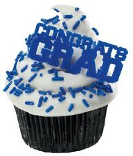 12 Blue Congrats Grad Graduation Cake Cupcake Toppers Picks Party Decorations