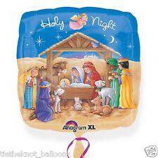 """18"""" CHRISTMAS JUNIOR SHAPED FOIL BALLOON  HOLY NIGHT MANGER NATIVITY SCENE"""