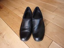 Comfy FOOTGLOVE Ladies Black  Leather Flat Slip On Shoes size 6 UK - 39 EU