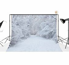 7x5FT Vinyl Winter Snow Forest Photo Backdrop Studio Photograph Background SD603