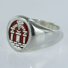 Hallmarked 925 Solid Silver Past Perceptor Masonic Red Enamel Ring