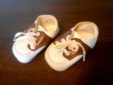 Vintage Faux Leather Brown White Infant Baby Saddle Shoes USA 3-6 Months