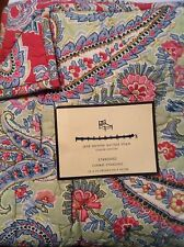 Pottery Barn JANE PAISLEY Standard Quilted PILLOW SHAM green Pink reversible NEW