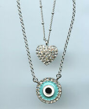 2 STRAND TURQUOISE ENAMEL & CRYSTAL EVIL EYE & HEART PENDANT NECKLACE