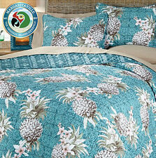 Margaritaville Pineapple 3-piece Reverse Cotton Quilt with Tote Bag ( Blue King)