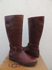 UGG EVANNA BROWN TALL WATERPROOF LEATHER SNOW BOOTS, US 8/ EUR 39  ~NEW
