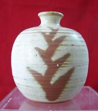 Japanese Art Pottery Bud Weed Vase White with Brown Hagi Style Foil Sticker