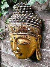 Gold Coloured Carved WOODEN BUDDHA HEAD Wall Hanging 30 cm  NEW Home Decor 1kg