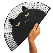 Japanese Cat Kitten Silk Bamboo Hand Fan Cartoon Folding Fan Party Gift☆