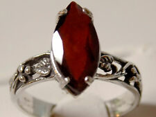 3ct natural red garnet marquise antique 925 sterling silver ring size 9 USA