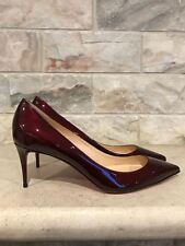 NIB Christian Louboutin Decollete 554 70 Red Orthodoxe Metal Patent Heel Pump 40