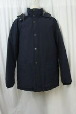 Tommy Hilfiger Mens Jacket Sz L Navy Blue Chambray Hooded Mens Casual Jacket