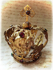 Gilded Santos Crown with Multi Color Jewels and Cross, Santos Doll Crown