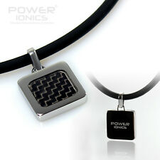 New Power Ionics Black Carbon Fiber Titanium Ions Pendant Necklace Balance Body