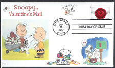 SNOOPY  VALENTINE'S MAIL  CHARLIE BROWN  PIGPEN  HEARTS  SEALED W LOVE FDC- DWc