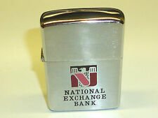 "VINTAGE ZIPPO LIGHTER ""NATIONAL EXCHANGE BANK"" -UNUSED -NEVER STRUCK -1967 -RARE"