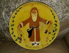 "Turtlecreek Pottery Redware Plate CHARGER SANTA 12"" SIGNED 1994 DAVID T SMITH"