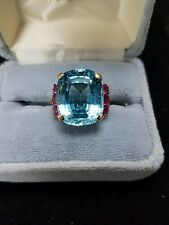Estate 18K Blue Topaz 8 +/- carat w/ 6 Rubies 18k Gold Cocktail Dinner Ring