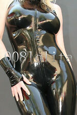 100%Latex Rubber Black Tights Sexy Bodysuit Zipper Suit Catsuit Size XS~XXL