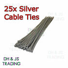 Extra Long Silver Cable Ties 300 x 4.8mm - High Quality Wheel Trim Ties - 25pcs