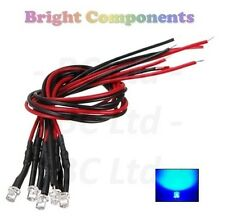 5 x Pre-Wired Blue LED 3mm Flat Top : 9V ~ 12V : 1st CLASS POST