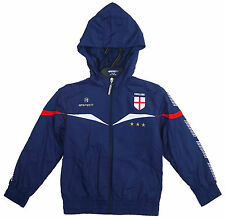 Boys England Woven Jacket , Zip up Track Suit Hoodie Top in White and Blue